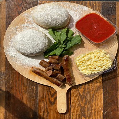 Picture of sausage pizza ingredients