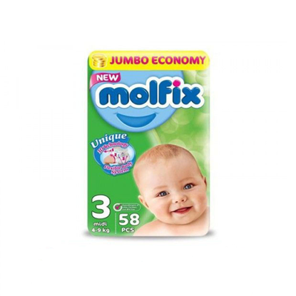 """Picture of """"Molfix Baby Diapers Midi Size 3 """"58 diapers"""