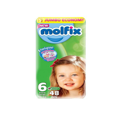 """Picture of """"Molfix Diapers Large Size 6 """"48 diapers"""